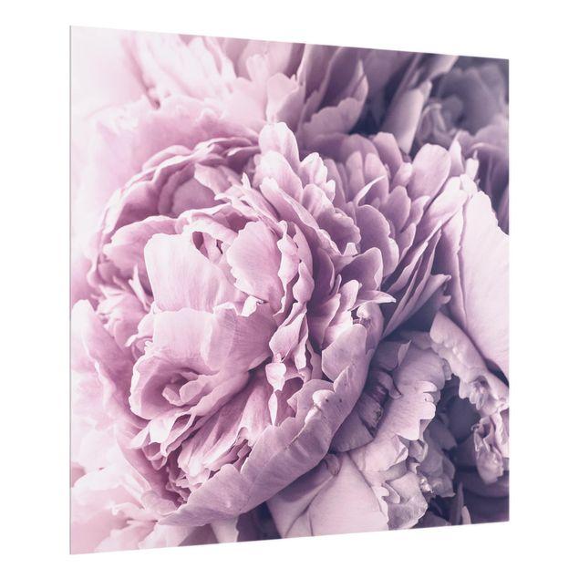 Glas Spritzschutz - Lila Pfingstrosenblüten - Quadrat - 1:1