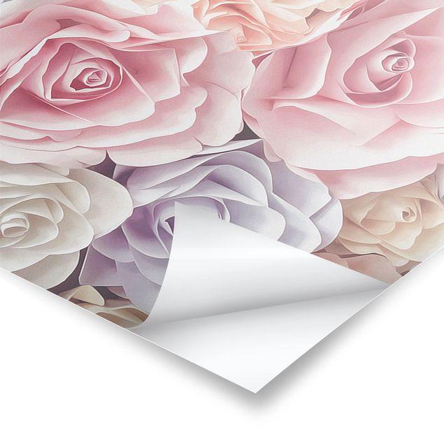 Poster - Pastell Paper Art Rosen - Panorama Querformat