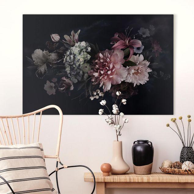 Leinwandbild - Blumen mit Nebel auf Schwarz - Querformat 2:3