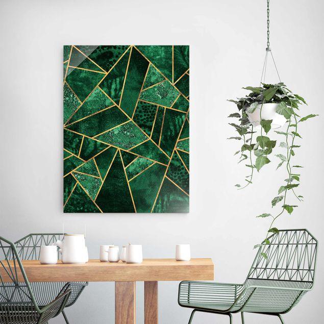 Glasbild - Dunkler Smaragd mit Gold - Hochformat 4:3