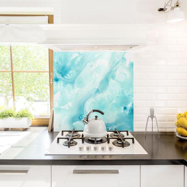 Glas Spritzschutz - Emulsion in weiß und türkis I - Quadrat - 1:1