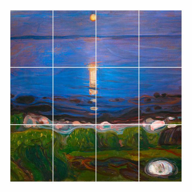 Fliesenbild - Edvard Munch - Sommernacht am Meeresstrand - Fliesensticker Set quadratisch