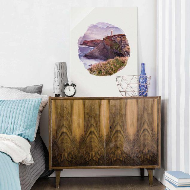 Glasbild - Wasserfarben - Steilküste und Leuchtturm - Hochformat 4:3