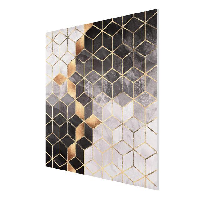 Forex Fine Art Print - Schwarz Weiß goldene Geometrie - Quadrat 1:1