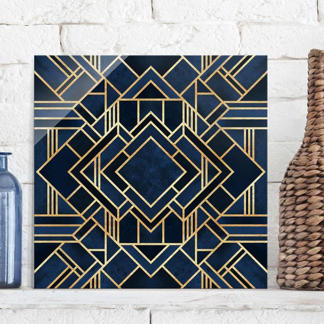 Glasbild - Art Deco Gold - Quadrat 1:1