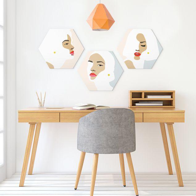 Hexagon Bild Alu-Dibond 3-teilig - Line Art Portrait Frauen Pastell Set