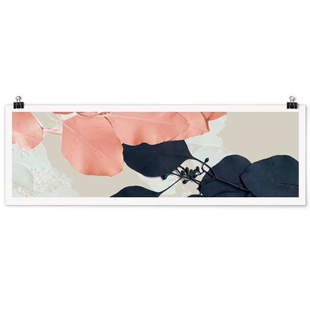 Poster - Blätter Indigo & Rouge II - Panorama Querformat