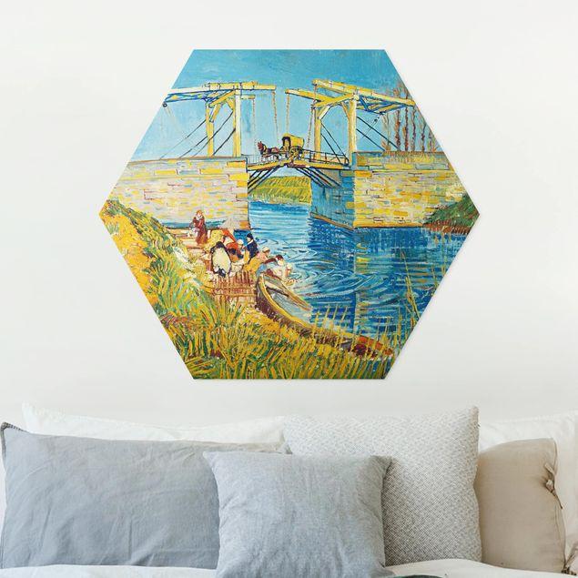 Hexagon Bild Forex - Vincent van Gogh - Zugbrücke in Arles