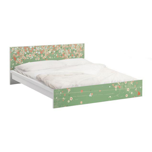 Möbelfolie für IKEA Malm Bett niedrig 180x200cm - Klebefolie No.EK236 Spring Background
