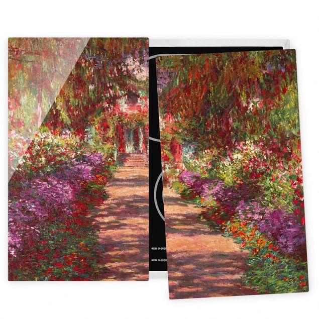 Herdabdeckplatte Glas - Claude Monet - Weg in Monets Garten in Giverny - 52x80cm