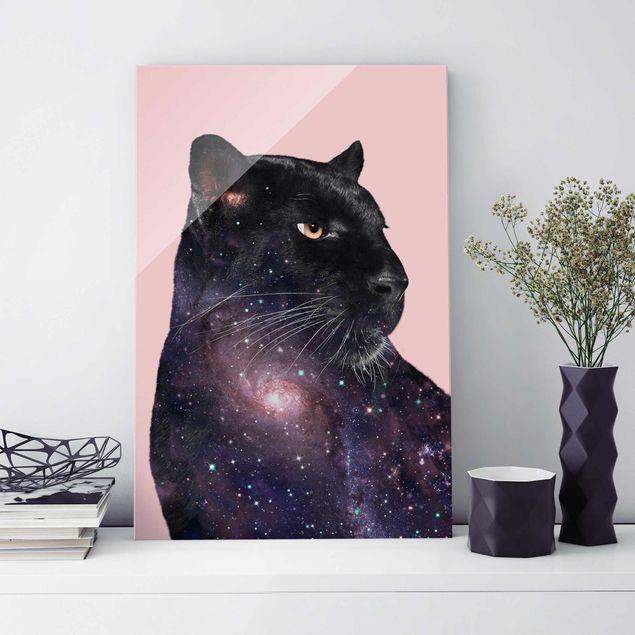 Glasbild - Jonas Loose - Panther mit Galaxie - Hochformat 3:2