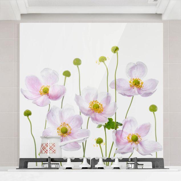 Glas Spritzschutz - Japanische Anemonen - Quadrat - 1:1
