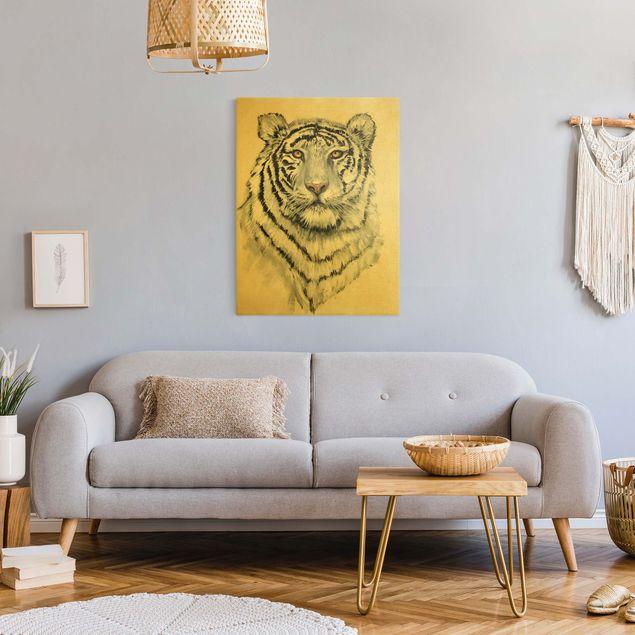 Leinwandbild Gold - Portrait Weißer Tiger I - Hochformat 3:4