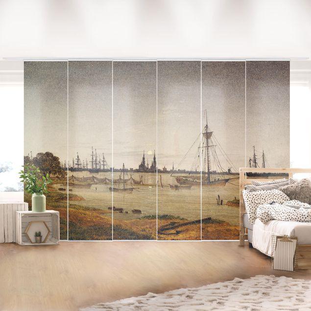 Schiebegardinen Set - Caspar David Friedrich - Hafen bei Mondschein - Flächenvorhänge