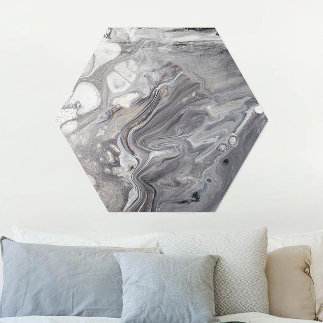 Hexagon Bild Alu-Dibond - Gesteinsschmelze I