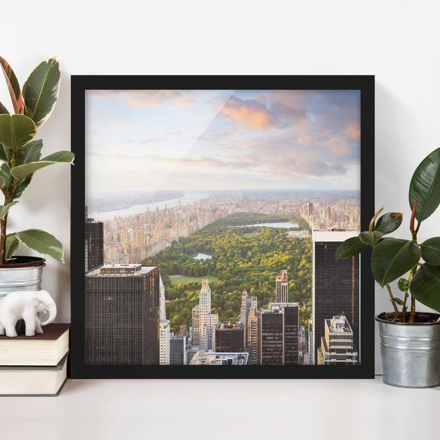 Bild mit Rahmen - Blick über den Central Park - Quadrat 1:1