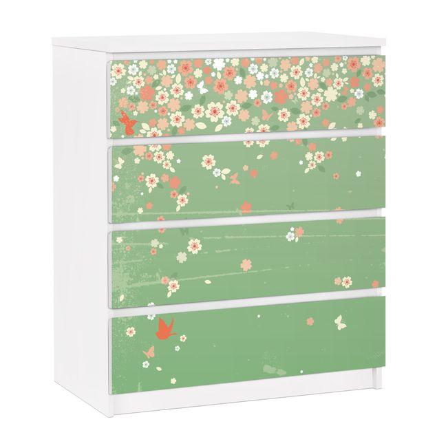 Möbelfolie für IKEA Malm Kommode - selbstklebende Folie No.EK236 Spring Background
