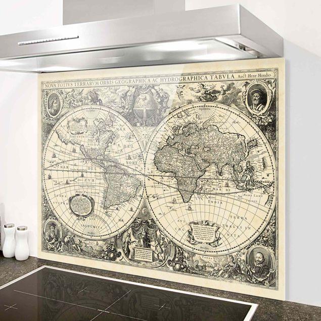 Glas Spritzschutz - Vintage Weltkarte Antike Illustration - Querformat - 4:3