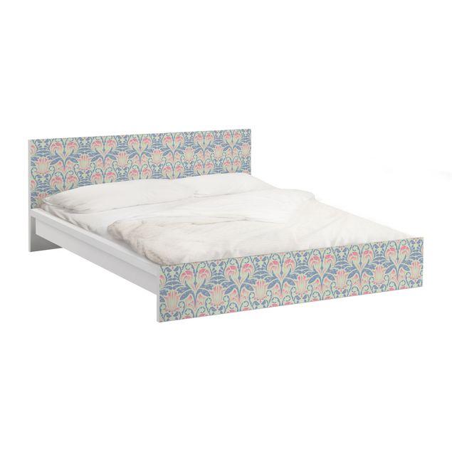 Möbelfolie für IKEA Malm Bett niedrig 140x200cm - Klebefolie Leinen Damast Ornament