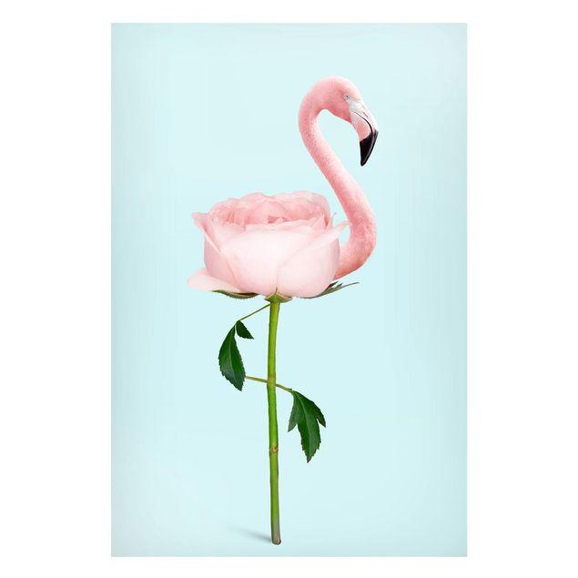 Magnettafel - Jonas Loose - Flamingo mit Rose - Memoboard Hochformat 3:2