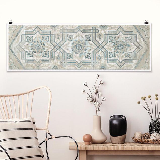 Poster - Holzpaneel Persisch Vintage III - Panorama Querformat