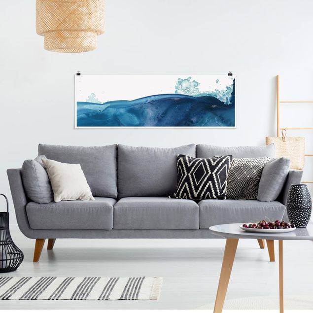 Poster - Welle Aquarell Blau II - Panorama Querformat