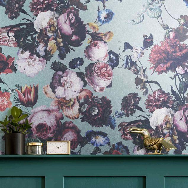 Metallic Tapete - Altmeisterliche Blüten mit Tulpen und Rosen auf Blau