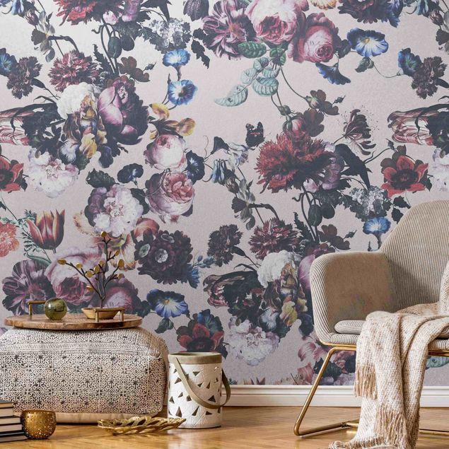 Metallic Tapete - Altmeisterliche Blüten mit Tulpen und Rosen auf Rosa