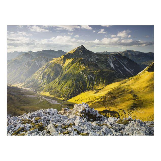 Alu-Dibond Bild - Berge und Tal der Lechtaler Alpen im Tirol