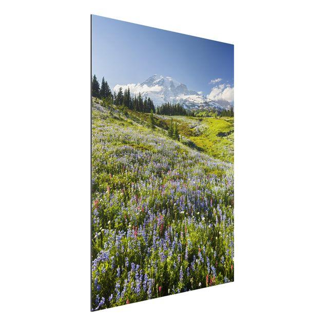 Alu-Dibond Bild - Bergwiese mit Blumen vor Mt. Rainier