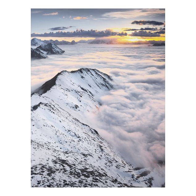 Alu-Dibond Bild - Blick über Wolken und Berge