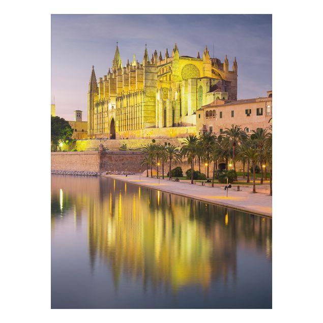 Alu-Dibond Bild - Catedral de Mallorca Wasserspiegelung