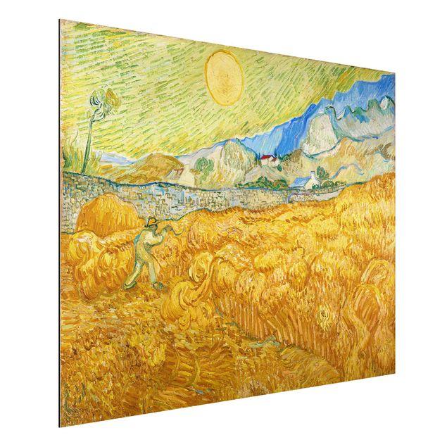 Alu-Dibond Bild - Vincent van Gogh - Die Ernte, Kornfeld mit Schnitter