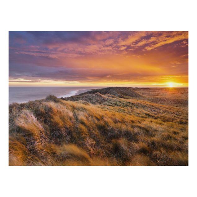 Alu-Dibond Bild - Sonnenaufgang am Strand auf Sylt