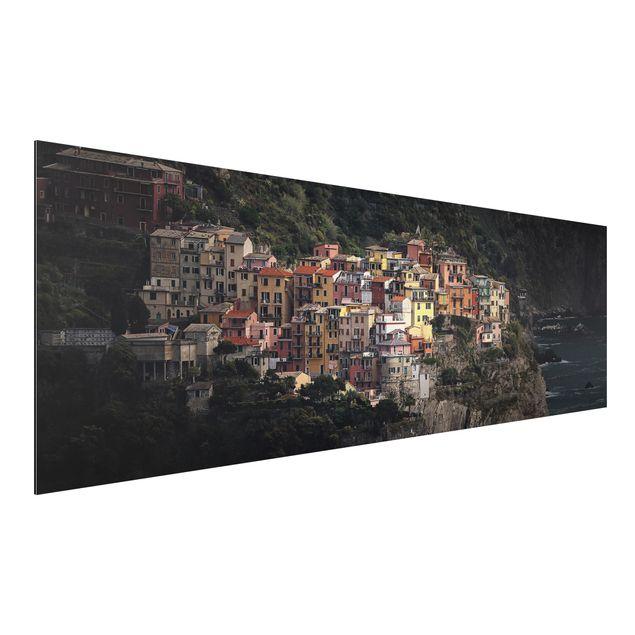 Alu-Dibond Bild - Angestrahltes Manarola