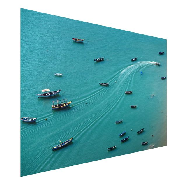 Aluminium Print - Ankernde Fischerboote - Querformat 2:3