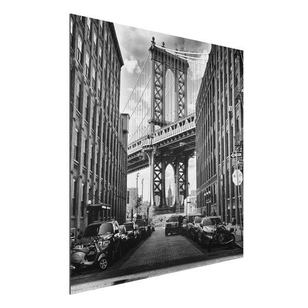 Alu-Dibond Bild - Manhattan Bridge in America