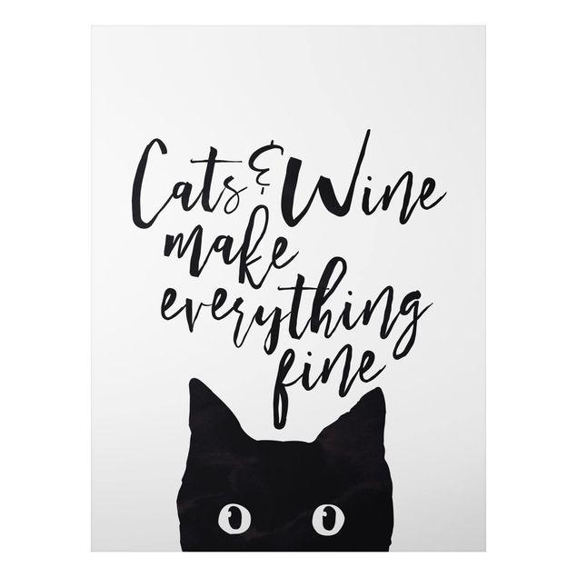 Alu-Dibond Bild - Cats and Wine make everything fine