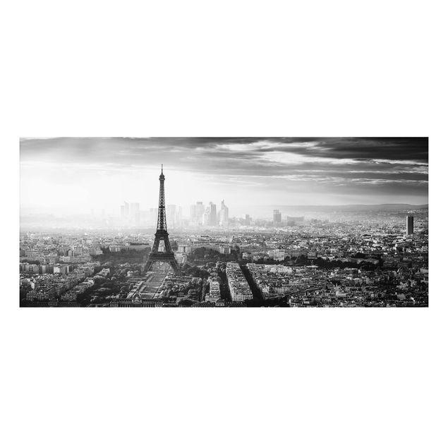 Aluminium Print - Der Eiffelturm von Oben Schwarz-weiß - Panorama