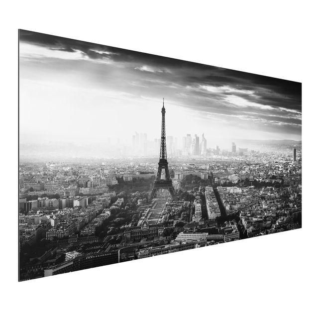 Aluminium Print - Der Eiffelturm von Oben Schwarz-weiß - Querformat 1:2