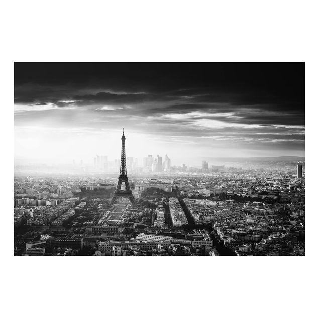 Aluminium Print - Der Eiffelturm von Oben Schwarz-weiß - Querformat 2:3