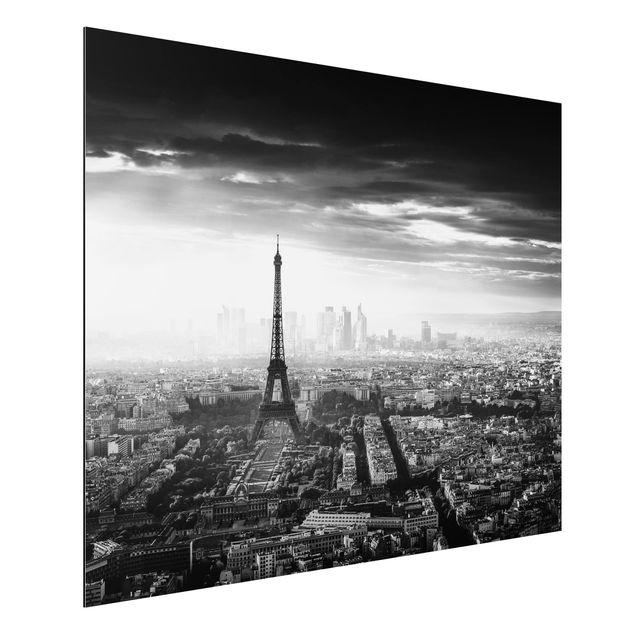 Aluminium Print - Der Eiffelturm von Oben Schwarz-weiß - Querformat 3:4