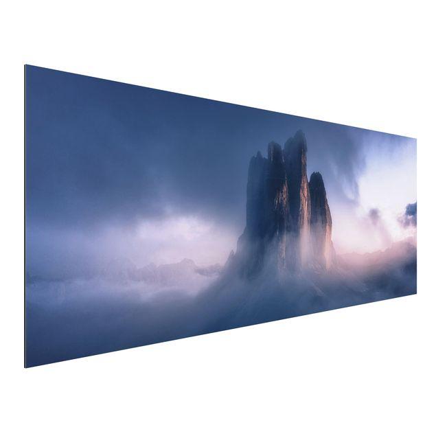 Aluminium Print - Drei Zinnen in blauem Licht - Panorama
