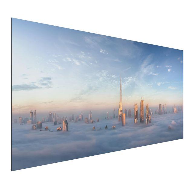 Aluminium Print - Dubai über den Wolken - Querformat 1:2