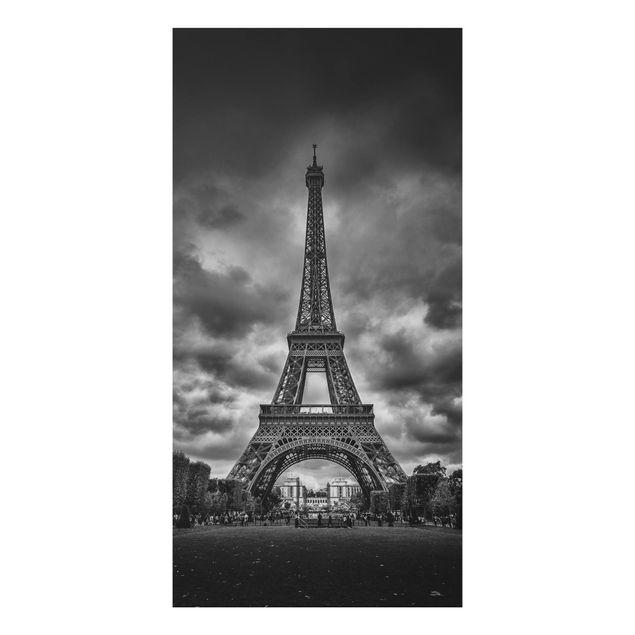 Aluminium Print - Eiffelturm vor Wolken schwarz-weiß - Hochformat 2:1