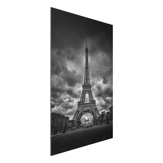 Aluminium Print - Eiffelturm vor Wolken schwarz-weiß - Hochformat 3:2