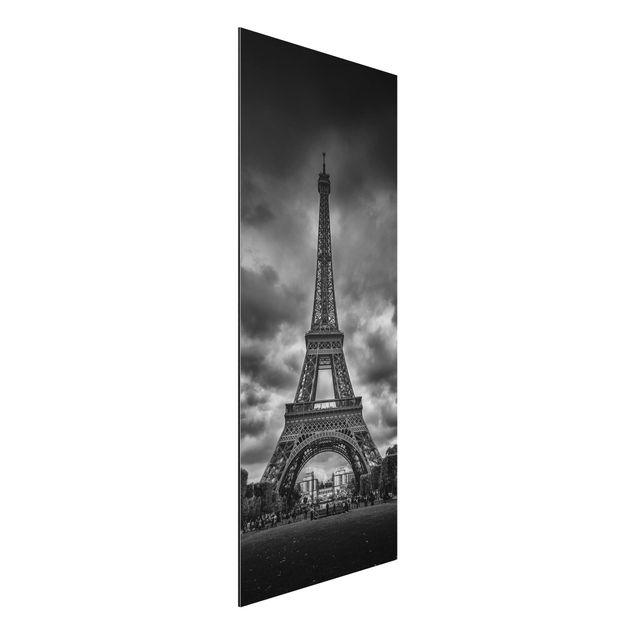 Aluminium Print - Eiffelturm vor Wolken schwarz-weiß - Panorama Hochformat