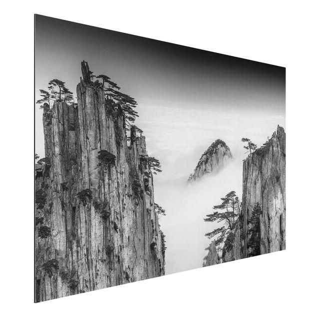 Aluminium Print - Felsen im Nebel schwarz-weiß - Querformat 2:3