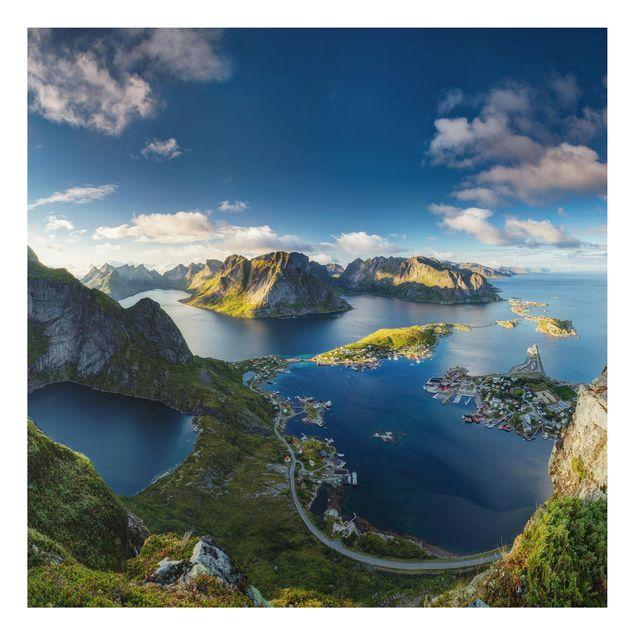 Alu-Dibond Bild - Fjordblick in Reinebringen
