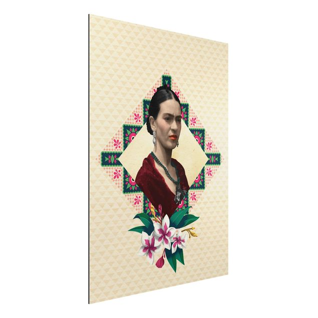Alu-Dibond Bild - Frida Kahlo - Blumen und Geometrie